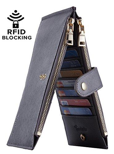Travelambo Womens Walllet RFID Blocking Bifold Multi Card Case Wallet with Zipper Pocket (CH Gold Greyish 4095F)