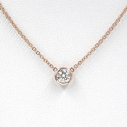 Diamond Necklace, Diamond Solitaire Necklace, Natural Brilliant Cut Bezel Diamond Necklace, Minimalist 0.12 Ct. Diamond Bezel Necklace (Natural Ct 0.12)