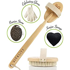 Best Body Brush Exfoliation System for Dry Skin Brushing, with Exfoliating Gloves, Konjac Face Sponge & Pumice Stone, Reduce Cellulite Boost Lymphatic Flow, Back Scrubber with Natural Boar Bristle
