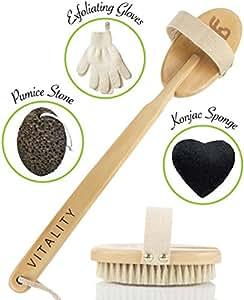 El mejor sistema de exfoliación del cuerpo con cepillo para la piel seca, incluye guantes exfoliantes y esponja para rostro de konjac, reduce la celulitis y fortalece el sistema linfático, masajeador de espalda con cerdas naturales de jabalí