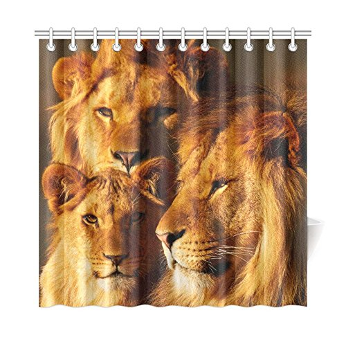 InterestPrint Sunset African Landscape Home Decor, Wildlife Animal Lions Polyester Fabric Shower Curtain Bathroom Sets with Hooks 72