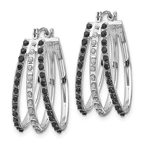 14k White Gold Black & White Diamond Triple Oval Hoop Earrings (0.7IN Diam.) ()