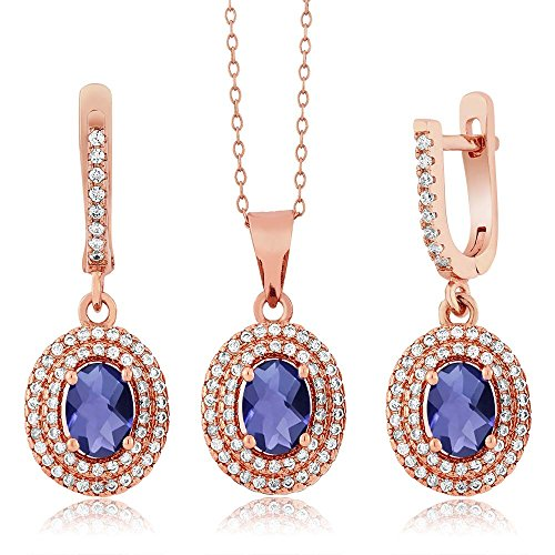 3.58 Ct Oval Blue Iolite 925 Rose Gold Plated Silver Pendant Earrings Set