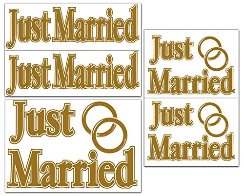 Just Married Auto Clings - Just Married Auto Novelty Car Truck Cling