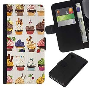 KingStore / Leather Etui en cuir / LG Nexus 5 D820 D821 / Sweets Dessert Cerise