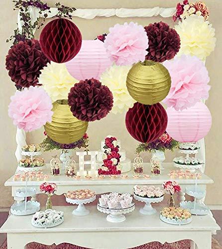 Bridal Shower Decorations Burgundy Pink Cream Glitter Gold Tissue Pom Pom Flower Paper Lanterns Honeycomb Balls Wedding Engagement Party Supplies