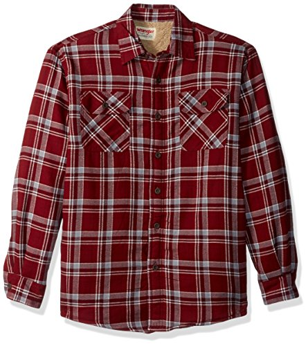 (Wrangler Authentics Men's Long Sleeve Sherpa Lined  Shirt Jacket, pomegranate, L)