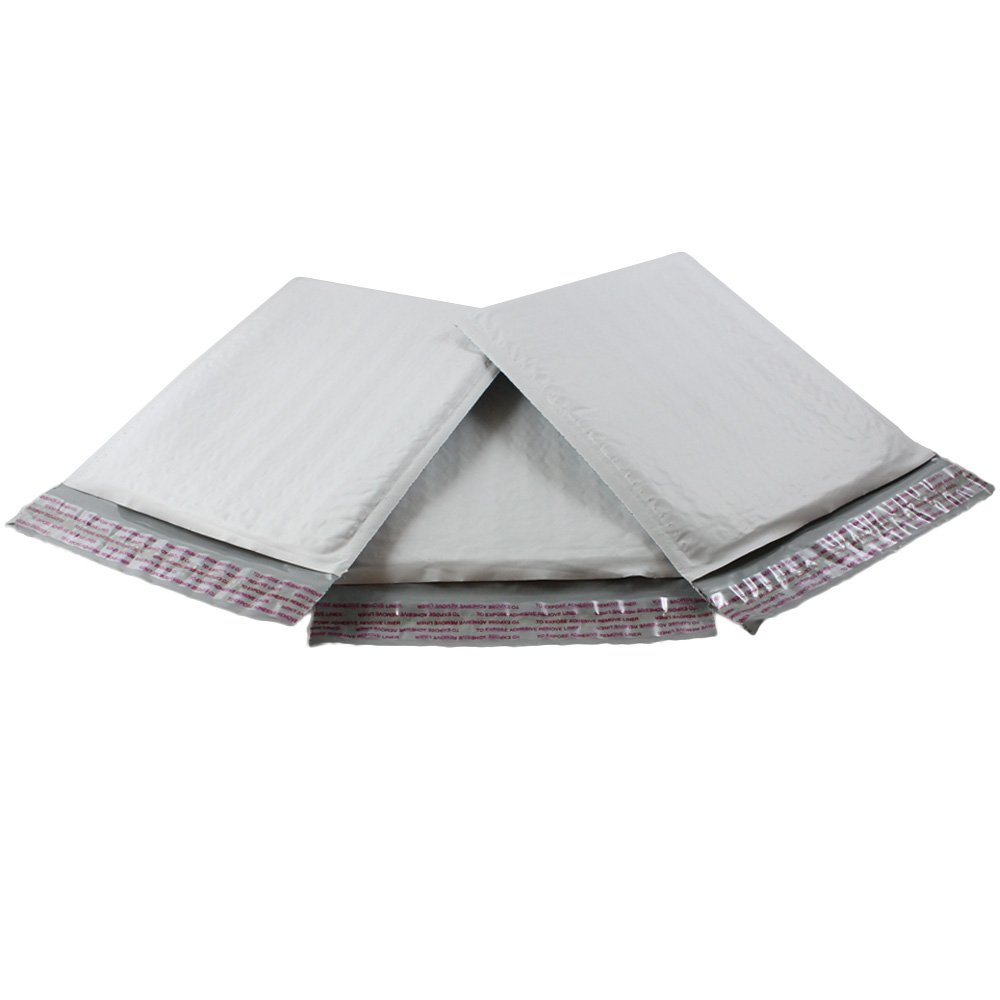 HGP #0 XL, 7.5'' x 10'', 125 Pack, Poly Bubble Mailers Padded Envelopes Plastic Self Seal Shipping DVD Size Bags