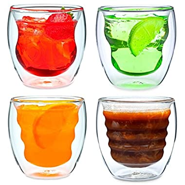 Curva Artisan Series Double Wall Beverage Glasses and Tumblers - Unique 8 oz Thermo Insulated Drinking Glasses, Set of 4