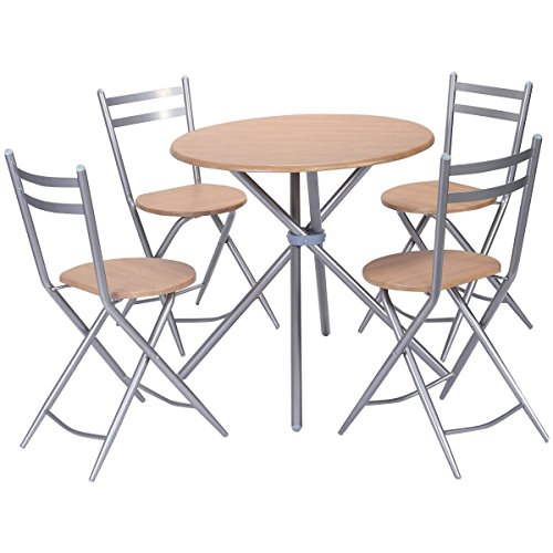 Giantex 5 PCS Folding Round Table Chairs Set Furniture Kitchen Living Room New