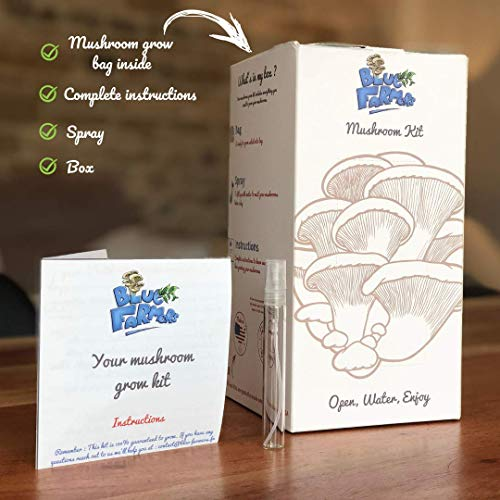 Blue Farmers | Mushrooms | Mushroom Growing Kit | Oyster Mushrooms Grow Kit | Grey, Pink and Yellow Oyster Mushrooms | Grows in 10 Days | Top Gardening Gift | Mothers Day Gifts by Blue Farmers (Image #2)