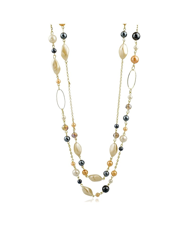 Women's Multi-Strand Multi-color Simulated Pearl, Gray Faceted Crystal Bead Layered Necklace, 36''