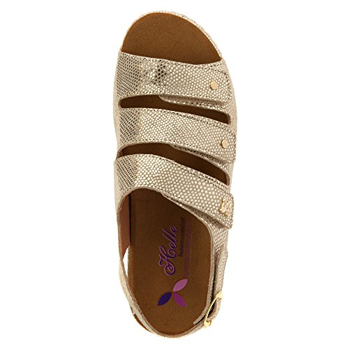 Helle Comfort Womens taki Suede Sandals Gold