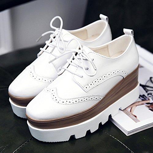 zufällige Schuhe Plattform einzelne britische Damenschuhe Farbe Plattform Art Damenschuhe größe Frühlings 37 starke weibliche Weiß untere HWF vXxPzpqz