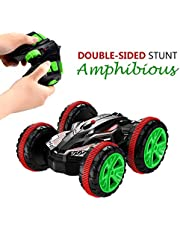 SZJJX AMC-G-VE Stunt 2.4Ghz 4WD RC Boat 6CH Remote Control Amphibious Off Road Electric Race Double Sided Car Tank Vehicle 360 Degree Spins and Flips Land and Water (red)