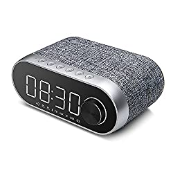 LHIABNN Bluetooth Speaker With Alarm Clock,Wireless Speaker with LED Clock and Radio,Retro Classical Wireless Speaker for Kids,Party,Bedroom,Camping (Grey)