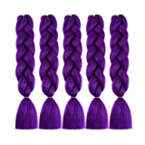 MSBELLE 5Pcs 24 Inch Synthetic Braiding Hair Kanekalon Braiding Hair Extensions Ombre Jumbo