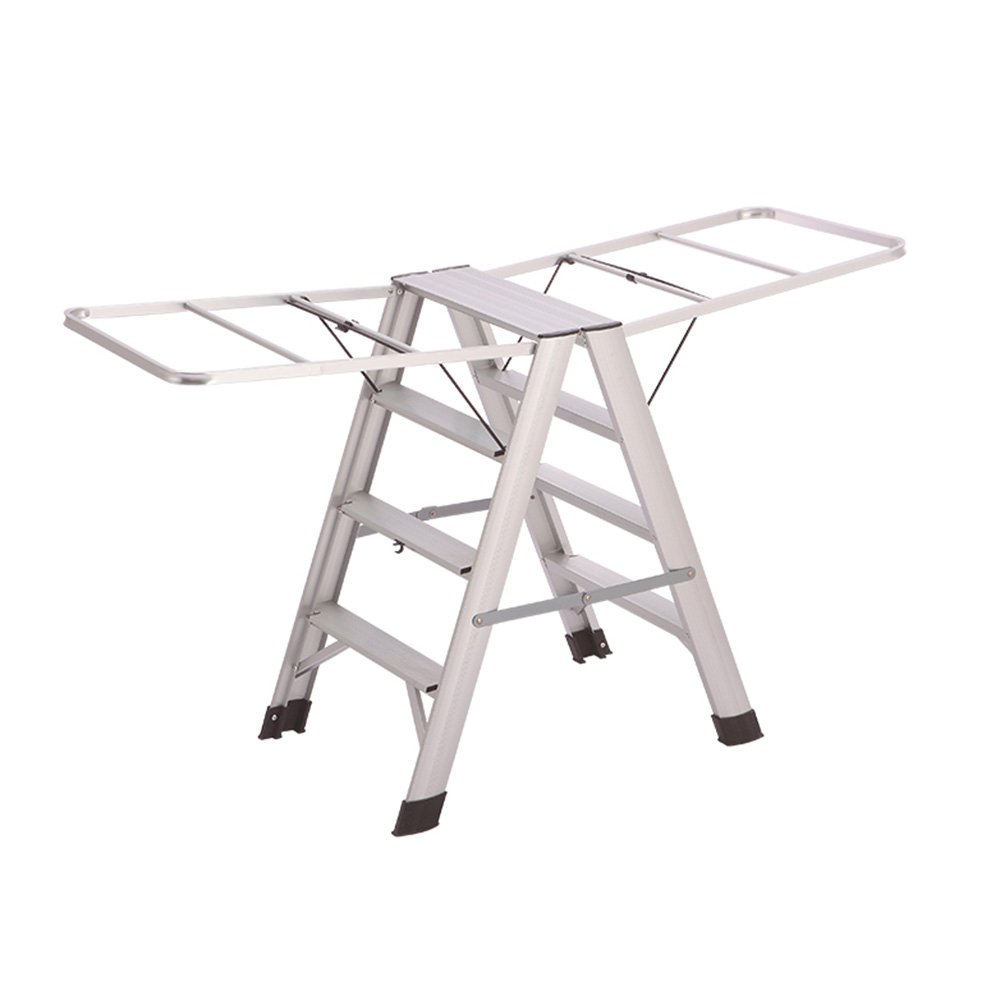 Silver 507380CM Liu JianQin Step Stools ZXQZ Step Stool Indoor Aluminum Alloy Ladder Folding Multifunctional Clothes Hanger Floor-standing Dual-use Step Stools Stepladders (color   Silver, Size   507380CM)