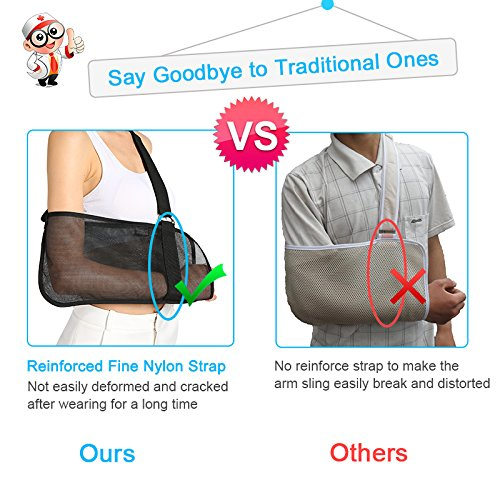 Vinfit Medical Breathable Mesh Arm Sling Shoulder Support Belt with Adjustable Strap, Injured Forearm Supporter Cuff Wrist Elbow Brace Immobilizer Fracture Protector for Women Men, Black