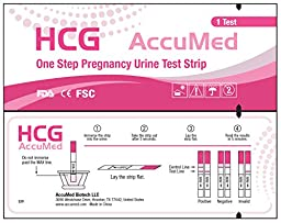 AccuMed® Pregnancy (HCG) Test Strips Kit, Clear and Accurate Results, FDA Approved and Over 99% Accurate, 100 count