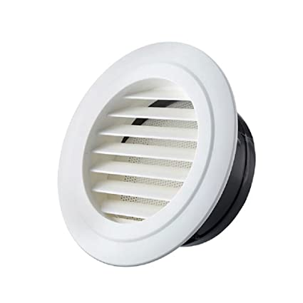 HG POWER 6 Inch Round Air Vent ABS Louver Grille Cover White Soffit Vent  with Built-in Fly Screen Mesh for Bathroom Office Kitchen Ventilation - -  Amazon. ... aeaa621f0c8