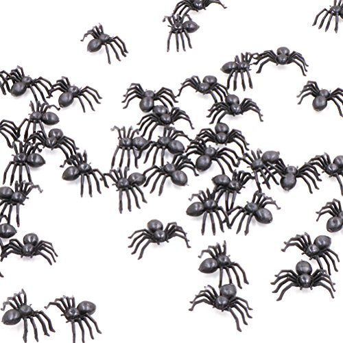 50 Pcs Halloween Fake Spider Props Black Plastic Joke Prank False Spiders -