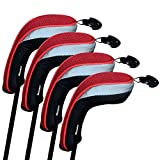(US) Andux Golf Hybrid Club Head Covers Set Of 4 Interchangeable No. Tag MT/HY01 (Red)