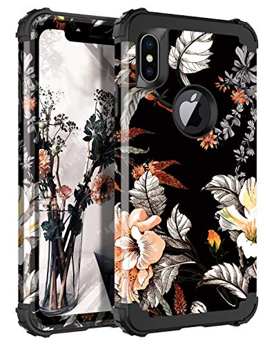Casetego Compatible iPhone Xs Max Case,Floral Three Layer Heavy Duty Hybrid Sturdy Armor Shockproof Protective Cover Case for Apple iPhone Xs Max,Orange ()