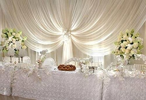 Backdrop wedding 40 ft White Sheer Wedding Backdrop draping Voile Panel 10 ft x 40 ft (Wedding Draping)