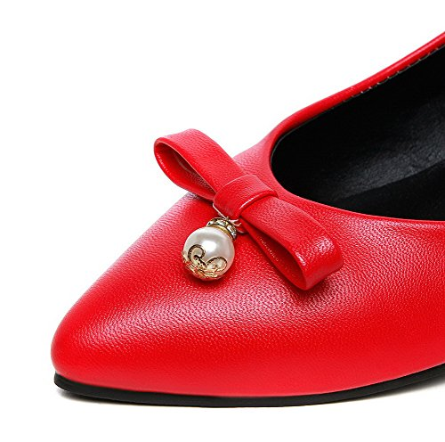 AmoonyFashion Womens Solid PU Low-Heels Closed-Toe Pull-On Pumps-Shoes Red mYkUia