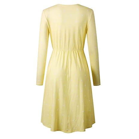 Qiusa Vestido de Fiesta Midi de Noche para Mujer (Color : Amarillo, tamaño : X-Large): Amazon.es: Hogar