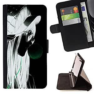 BullDog Case - FOR/Apple Iphone 6 PLUS 5.5 / - / girl grunge style portrait profile blonde glasses /- Monedero de cuero de la PU Llevar cubierta de la caja con el ID Credit Card Slots Flip funda de cuer