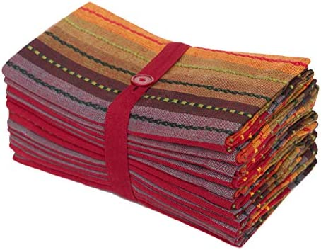 Amazon Com Cotton Craft Salsa Stripe Set Of 12 Pure Cotton Oversized Dinner Napkins 20 Inch By 20 Inch Red Multicolor Kitchen Dining