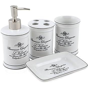 Vintage Chic Bathroom Accessory Set. Classic French Provincial 4 Piece Bath  Gift Set Includes Liquid