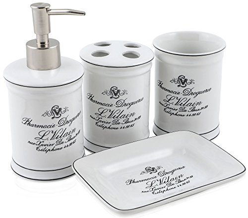 Vintage Chic Bathroom Accessory Set. Classic French Provincial 4 Piece Bath Gift Set includes liquid soap/lotion dispenser, toothbrush holder, tumbler, and soap dish. - ADD ELEGANCE AND CLASS TO ANY BATHROOM - The Decor D'azur complete bathroom set is traditional, classic country-side meets designer elegance. Our products are porcelain white with black decal, making the 4-piece bathroom collection easy to match with any theme in the house. They are a perfect fit for your guest bathroom, master bathroom, or children's bathroom because of their simple yet sophisticated look. These timeless bathroom set and accessories add a perfect touch to any powder room. SET INCLUDES ALL YOUR BATHROOM ACCESSORY NEEDS - With a soap dish, a toothbrush holder that fits four, a stainless-steel dispenser pump that you can utilize for liquid soap or lotion, and a tumbler that can be used as a cup or to put loose items in, this timeless ensemble is easy to use and convenient. Finalize the touches of any bathroom, creating ultimate beauty and utilization for you and your family. QUALITY AND CRAFTSMANSHIP YOU CAN TRUST - Because the Decor D'azur pieces are made of high-quality ceramic, you don't need to worry about any of the products chipping, breaking, or fading, making them user-friendly for both kids and the clumsiest among us. The rust-proof bath ensemble is convenient to wash and dishwasher safe, you can place every piece into the dishwasher without jeopardizing their integrity or fading the decal. - bathroom-accessory-sets, bathroom-accessories, bathroom - 51LrLXmY%2BpL -