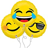Laugh, Smile, Too Cool Assorted Emoji Mylar Balloon 3pk