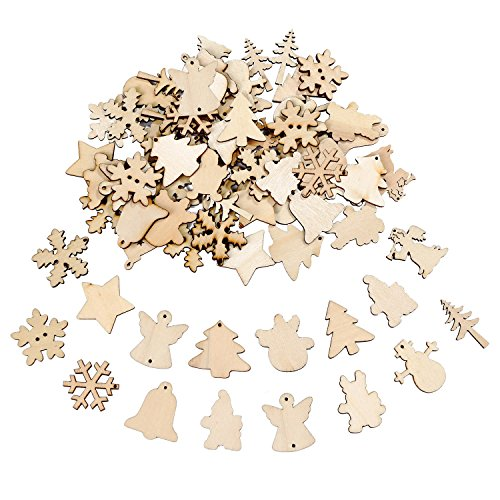 Frienda 100 Pieces Christmas Wooden Ornaments Buttons Pendants Scrapbooking Embellishments for Tree Decoration Crafts (Christmas Scrapbooking Ornaments)