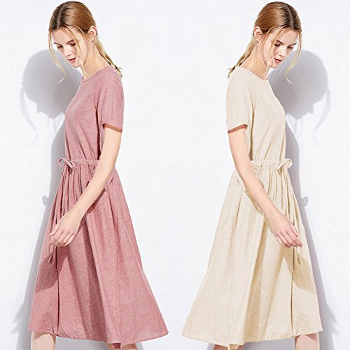 Neck Casual D short Dress Dress beige Scoop Midi Cotton Sleeve Summer fit Slim A UAISI Line Women's OAw5qvI