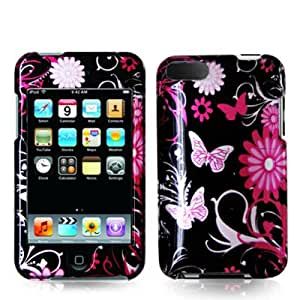 SODIAL(TM) Pink Butterfly Flowers 2D Design Crystal Hard Skin Case Cover for Ipod Touch 2nd and 3rd Generation 2g 3g 2 3 8gb 16gb 32gb 64gb