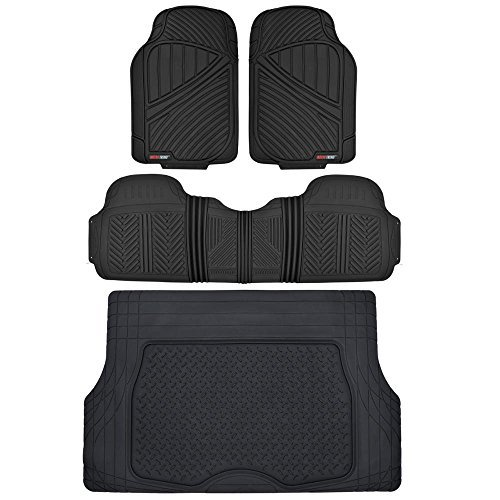 Motor Trend Flextough Rubber Car Floor Mats & Cargo Trunk Mat Set Black Heavy Duty - Odorless, Extreme Duty (Black) - MT-773-884-BK (Ford Explorer Carpet Kit)