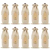 Keniot Burlap Wine Bags Wine Gift Bags with Drawstrings, Single Reusable Wine Bottle Covers with Ropes and Tags (10 Pcs)
