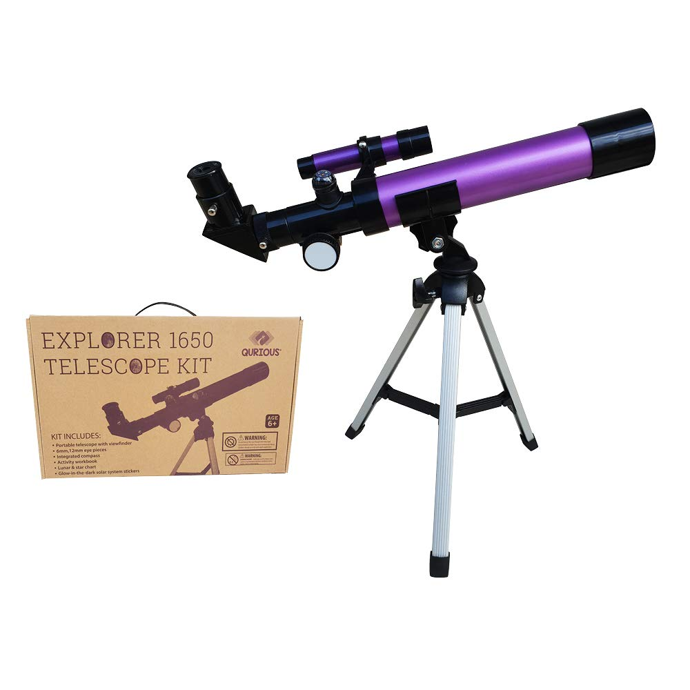 Qurious Space Kid's Explorer Telescope Gift Kit w Eco Carry Case   for Children & Astronomy Beginners   Moon Travel Scope   Adjustable Tripod & Compass  Glow in The Dark Stickers   Science Education