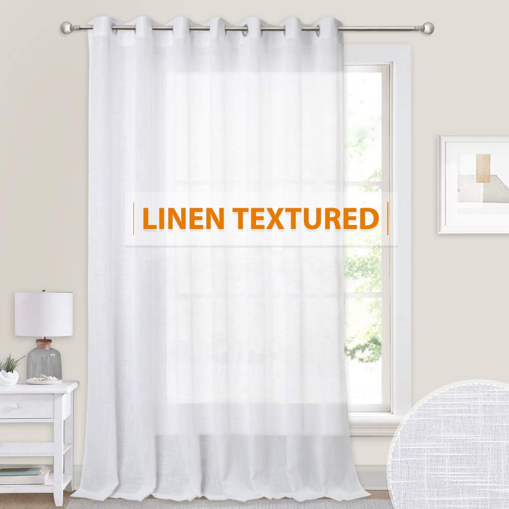 100 inches Wide Sheer Curtain - Casual Linen Wave Texture Hazy Drapes White Sheer Backdrop Curtains for Bedroom Wedding Dining Living Room Sliding Glass Door, 100 inch Wide x 84 inche Long, 1 Panel