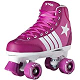New! 2016 Epic Star Pegasus Indoor Outdoor Classic High-Top Quad Roller Skates w/2 Pair of Laces (Purple & White)