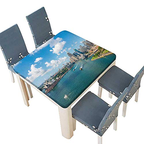 PINAFORE Printed Fabric Tablecloth Circular Quay Opera House Sydney NSW Australia Washable Tablecloth 65 x 65 INCH (Elastic Edge)