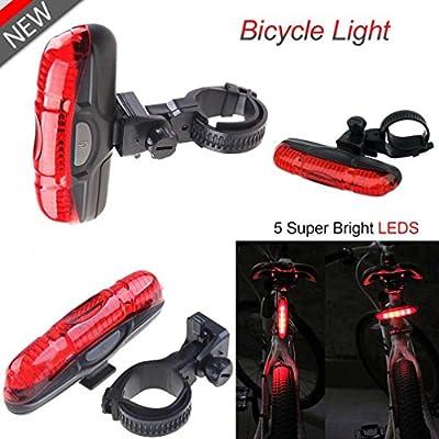 Koly NUEVO Luz Trasera para Bicicleta - Potente 5 LED Faro Trasero Bici - Muy Luminoso y Fácil de Instalar Luces Rojas Máxima Seguridad Ciclismo Impermeable Bicycle Light Lamp Taillight (Negro): Amazon.es: