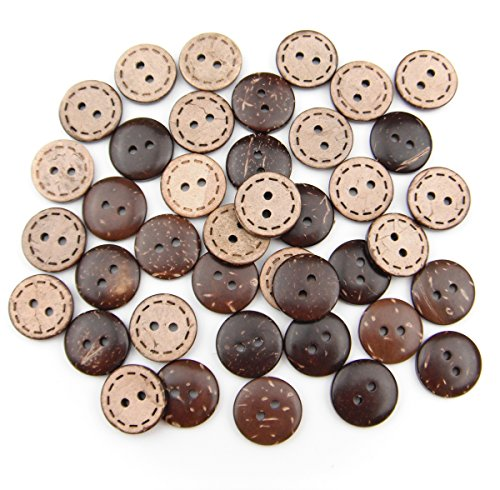 Shell Button Necklace (ALL in ONE Brown 2 Holes Coconut Shell Sewing Buttons Clothing Accessories (15MM, 40PCS))