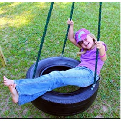 Ecommersify Swings REAL TIRE - Swing and Spin - Three chain Tree & Porch Swing with custom spinner swivel and Limb Chain Made in USA with Recycled 25-28 inch Tire - Eco friendly: Toys & Games