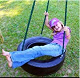 REAL TIRE - Swing and Spin - Three chain Tree & Porch Swing with custom spinner swivel and Limb Chain Made in USA with Recycled 25-28 inch Tire - Eco friendly