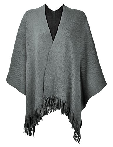 ZLYC Women's Reversible Winter Knitted Faux Cashmere Fringe Poncho Capes Shawl Blanket Wrap Sweater Coat (Grey)